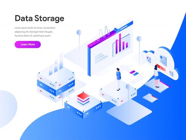Banner web isometrica di archiviazione dei dati Vettore Premium