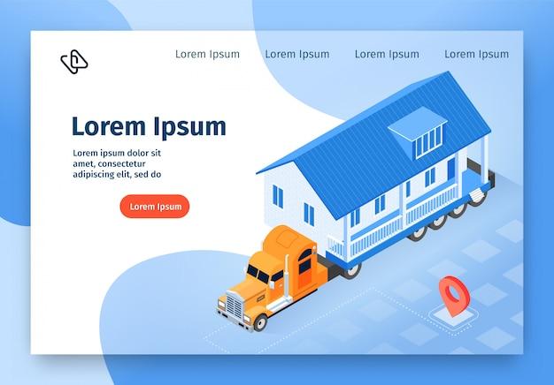 Banner web isometrica di vettore di consegna casa modulare Vettore Premium