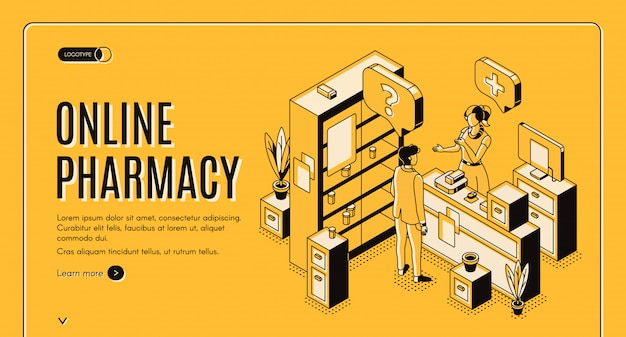 Banner web isometrica farmacia online Vettore gratuito