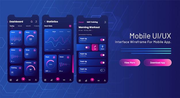 Banner web mobile ui / ux con schermata di app mobile di analisi su circuito blu. Vettore Premium