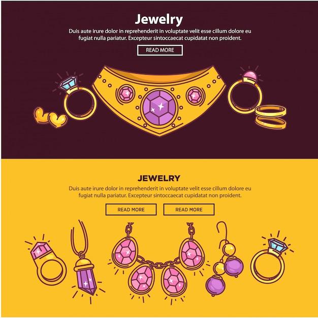 Banner web negozio di gioielli o design piatto modello di pagina vettoriale Vettore Premium