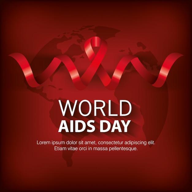 Banner world aids day con nastro Vettore gratuito