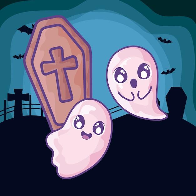 Bara di legno con croce cristiana sulla scena di halloween Vettore Premium