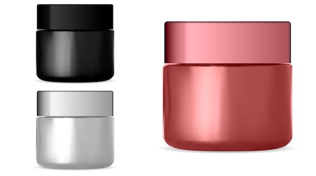 Barattolo cosmetico. set di bottiglie di crema realistiche. Vettore Premium
