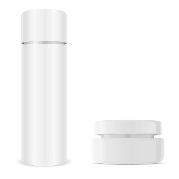 Barattolo di crema, flacone cosmetico. confezione di vetro. Vettore Premium