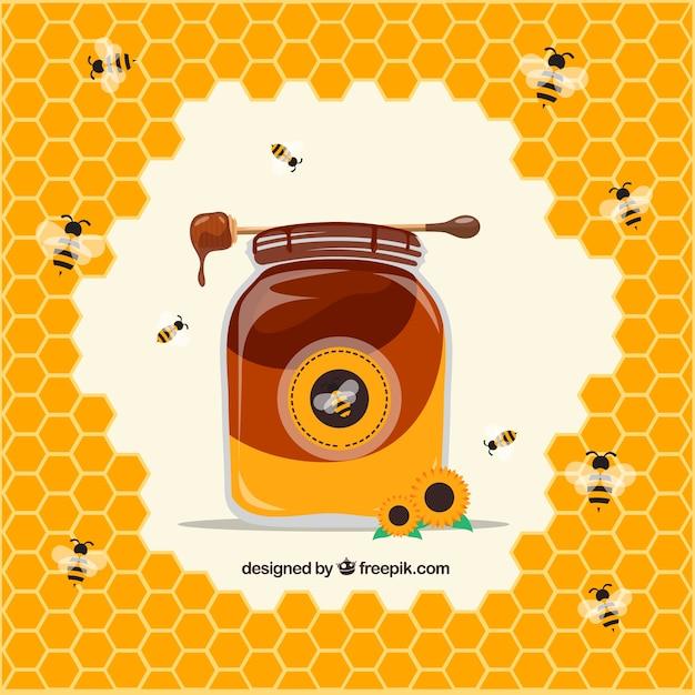 Amato Barattolo di miele con alveare e le api sfondo | Scaricare vettori  FA95