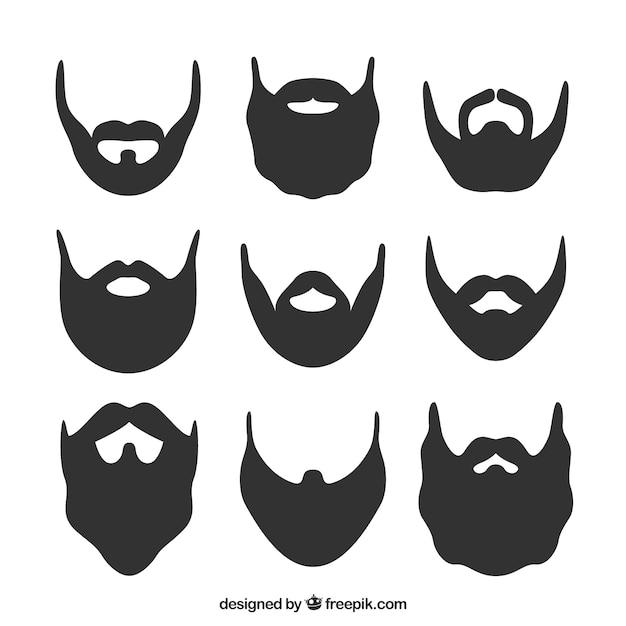 Barba silhouette set Vettore gratuito
