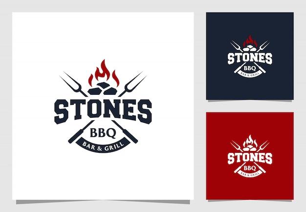 Barbecue bar e grill logo stile vintage Vettore Premium
