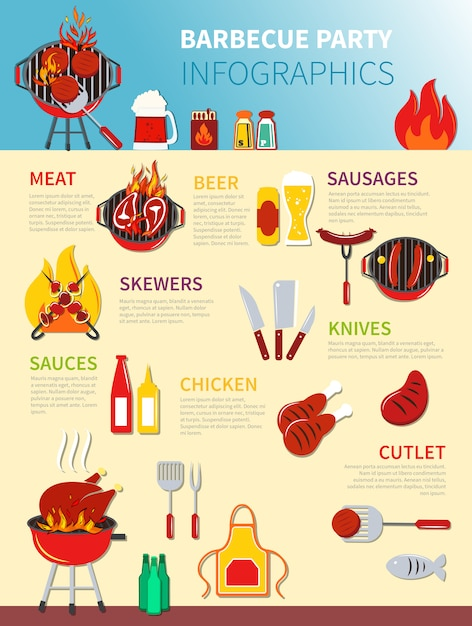 Barbecue party infographics Vettore gratuito