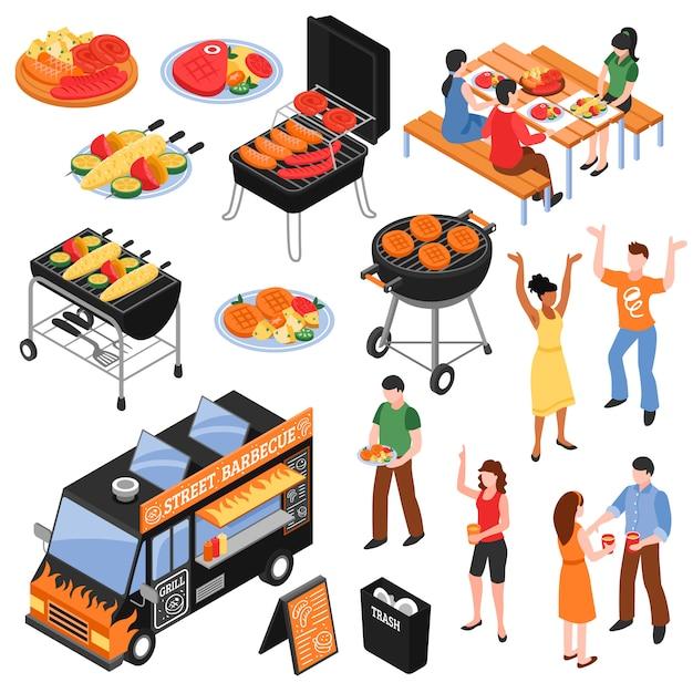 Barbecue set isometrica Vettore gratuito