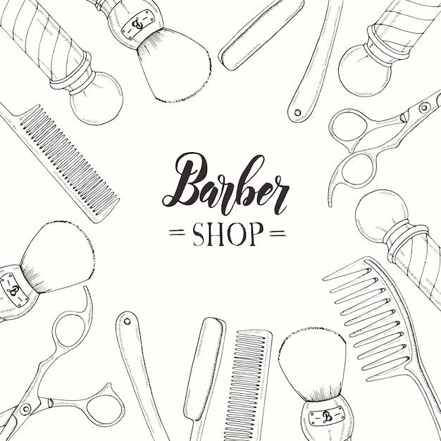Barbiere disegnato a mano con rasoio, forbici, pennello da barba, pettine, barbiere classico pole. Vettore Premium