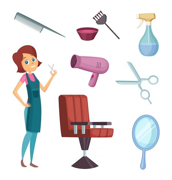 Barbiere femminile al lavoro Vettore Premium