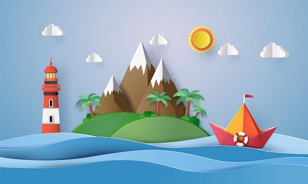Barca a vela di carta colorata, taglio carta e origami. Vettore Premium