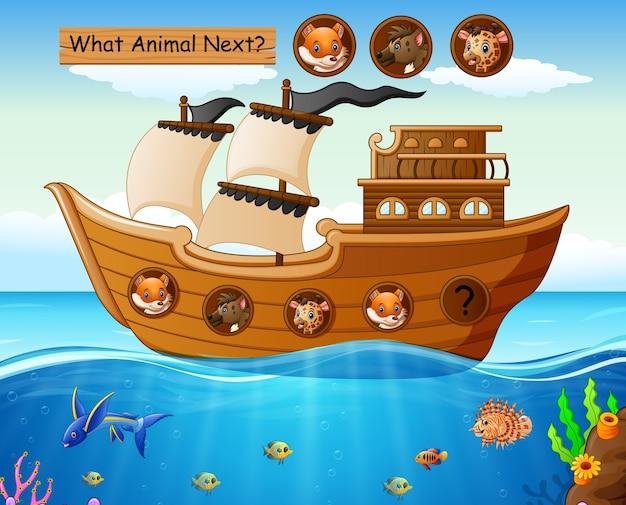 Barca a vela in legno con tema animali Vettore Premium
