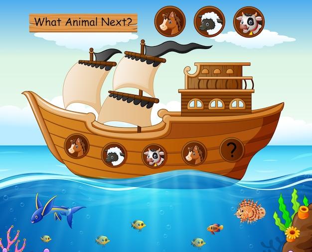 Barca a vela in legno con tema di animali da fattoria Vettore Premium