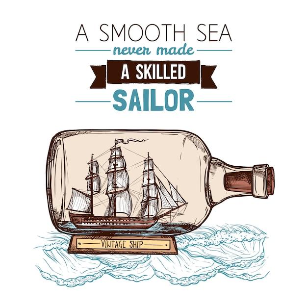 Barca a vela nel concetto di colore della bottiglia Vettore gratuito