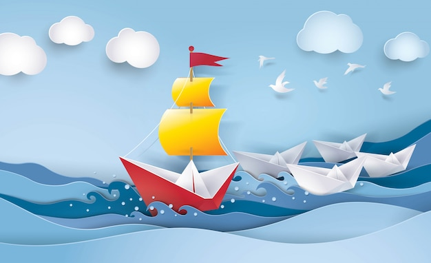 Barca a vela rossa e bianca nell'oceano Vettore Premium