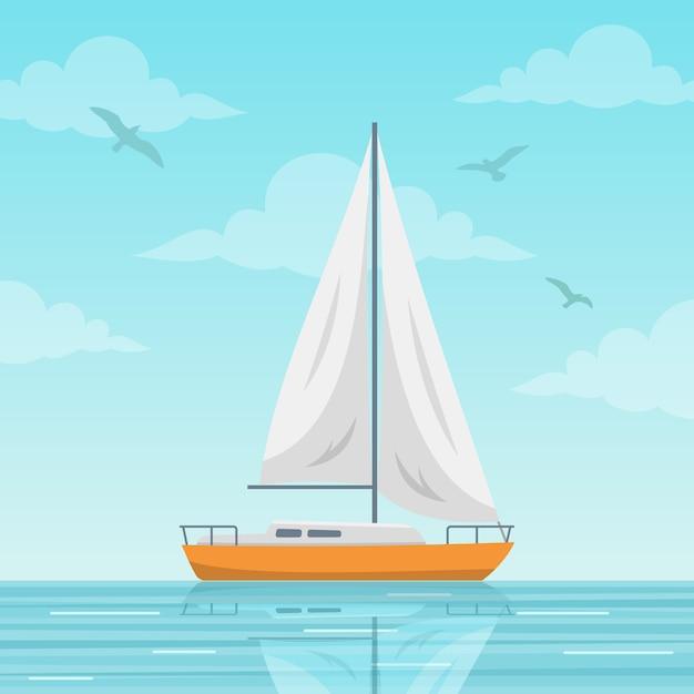 Barca a vela sullo sfondo del mare Vettore Premium