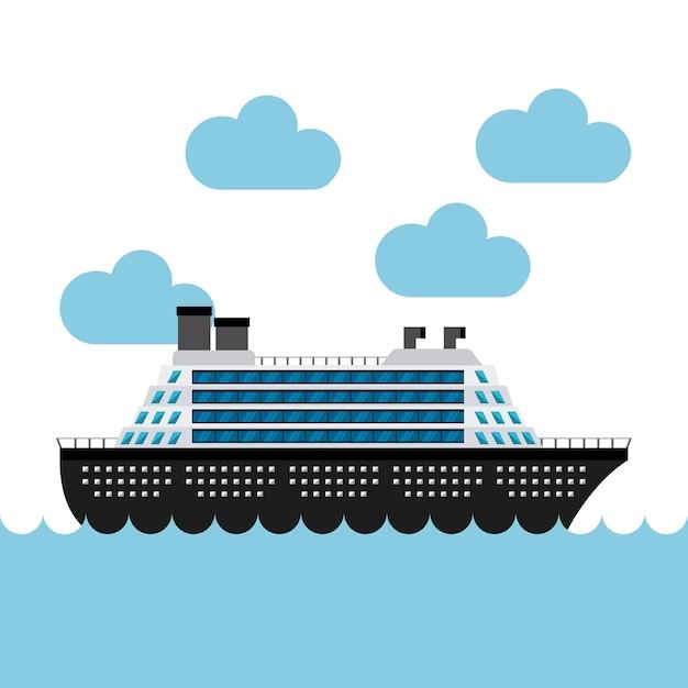 Barca da crociera nel mare Vettore Premium