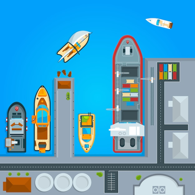 Barche della nave nel dock, vista dall'alto Vettore Premium
