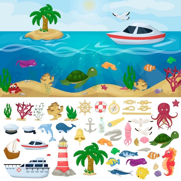 Barche marine nautiche marine marine animali marini Vettore Premium