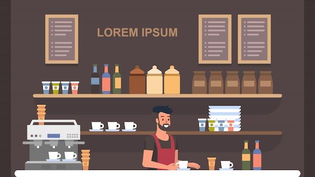 Barista coffe shop interior Vettore Premium
