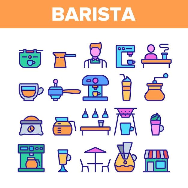 Barista equipment sign icons set Vettore Premium