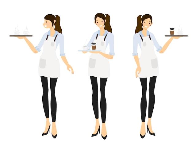 Barista femminile di stile piano o collezione di cameriere del caffè Vettore Premium