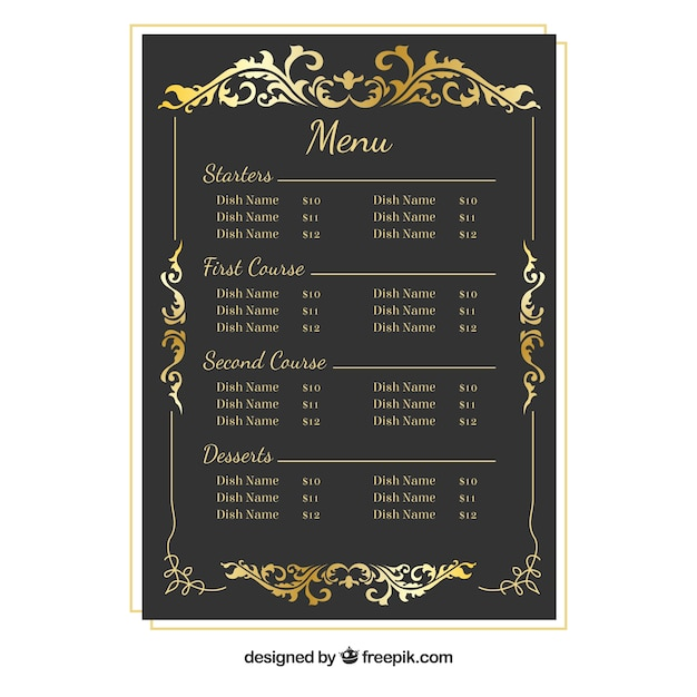 Barocco menu con cornice dorata Vettore gratuito