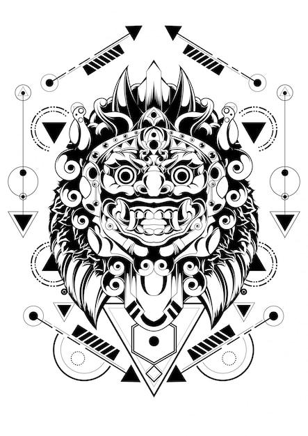 Barong maschera balinese geometria sacra Vettore Premium