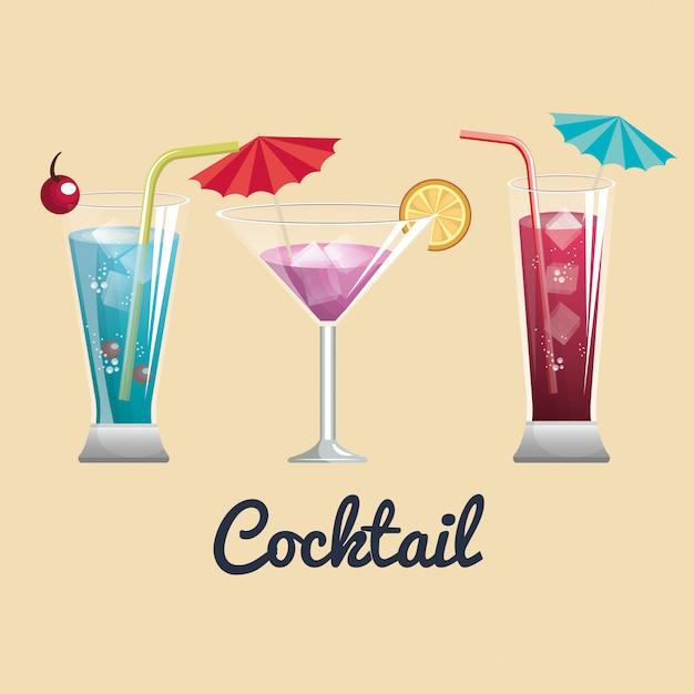 Barra dei menu dei cocktails Vettore Premium