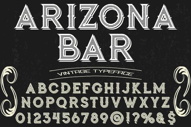 Barra dell'arizona di progettazione di carattere tipografico dell'iscrizione d'annata Vettore Premium