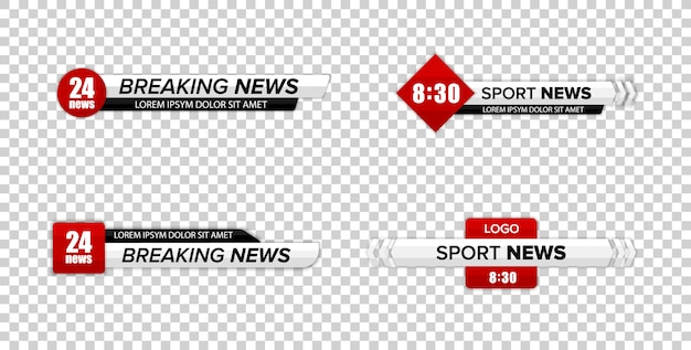 Barra delle notizie tv. le barre di notizie della terza tv inferiore hanno impostato il vettore. banner del titolo multimediale di trasmissione televisiva. Vettore Premium