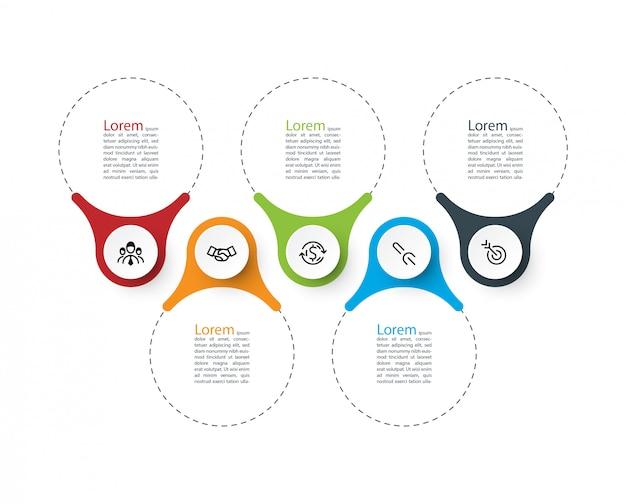 Barra infografica ad anello. Vettore Premium