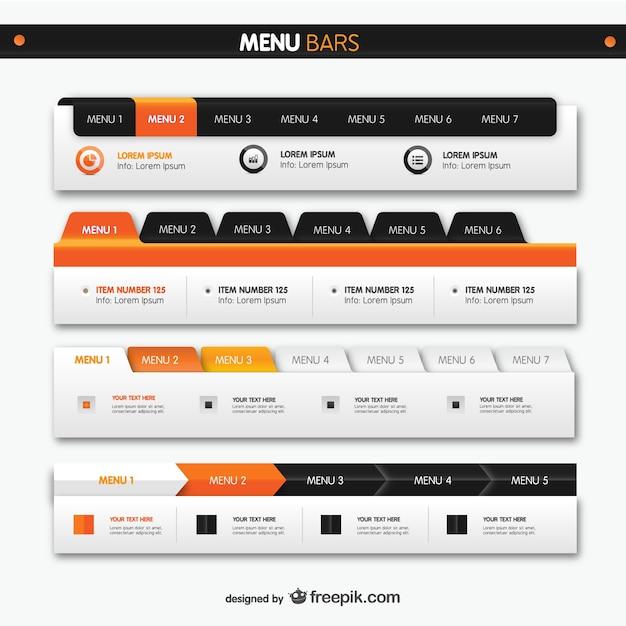 Barre dei menu elementi web Vettore gratuito