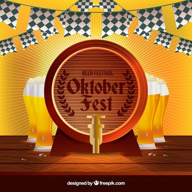 Barrel e bicchieri di birra Vettore gratuito