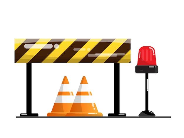 Barriera stradale e stradale, segnale di avvertimento sul traffico Vettore Premium