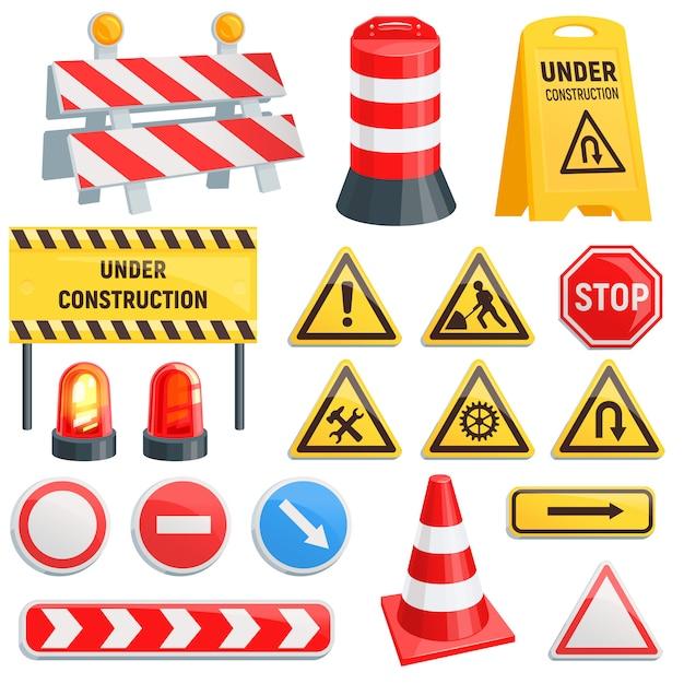 Barriera stradale strada barriera stradale in costruzione blocchi di avvertimento barricata su autostrada illustrazione set di deviazione di blocco stradale e barriera stradale bloccata isolato su sfondo bianco Vettore Premium