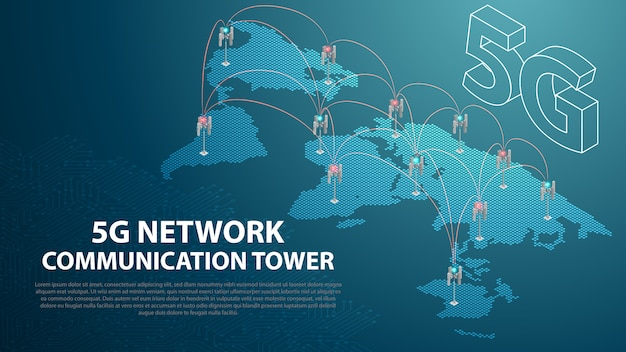Base mobile 5g tecnologia di rete di comunicazione antenna torre sullo sfondo Vettore Premium