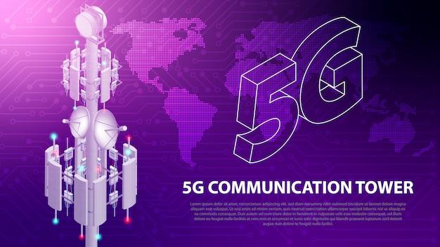 Base tecnologia di rete mobile sfondo torre di comunicazione 5g antenna Vettore Premium