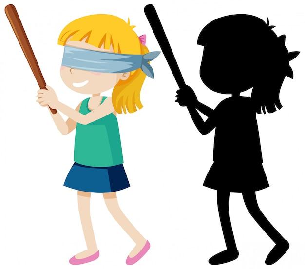 Bastone della holding della ragazza piegato cieco Vettore gratuito