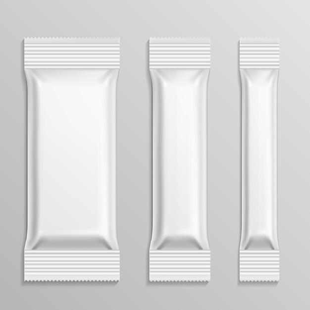 Bastone set di pacchetti di plastica per prodotto snack Vettore Premium