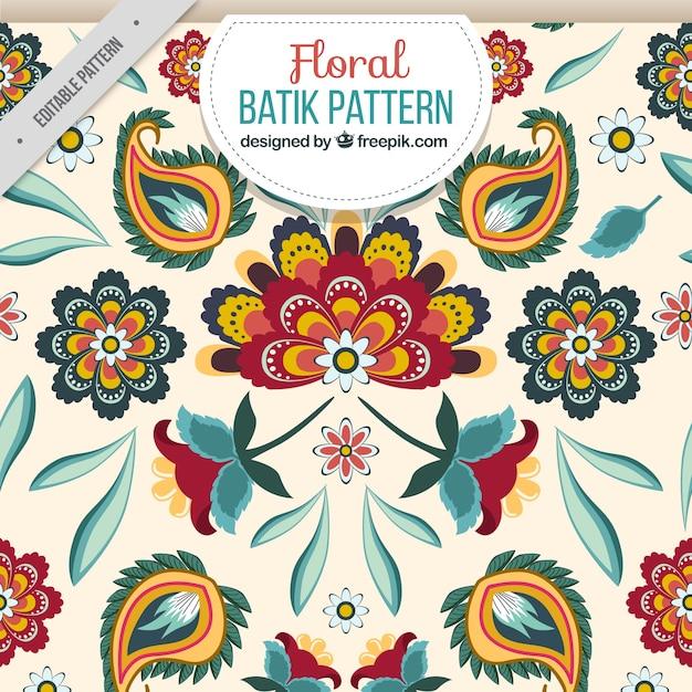 Batik motivo floreale Vettore gratuito