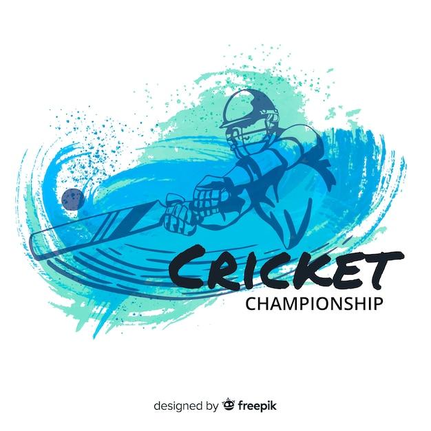 Batsman che gioca a cricket nel disegno dell'acquerello Vettore gratuito