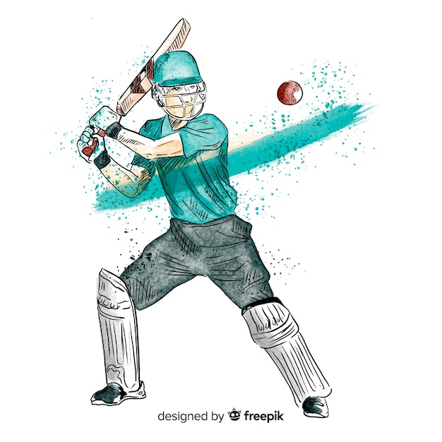 Batsman che gioca a cricket nello stile dell'acquerello Vettore gratuito