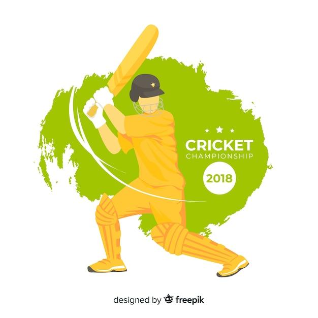 Batsman che gioca a cricket Vettore gratuito