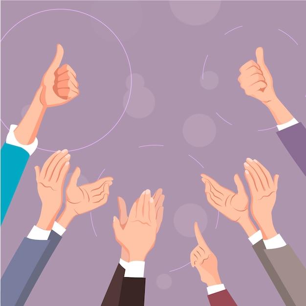 Battere le mani. gesti in su e applausi. Vettore Premium