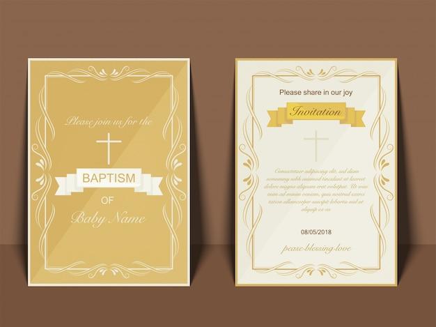 Battesimo invito card design con simbolo croce Vettore Premium