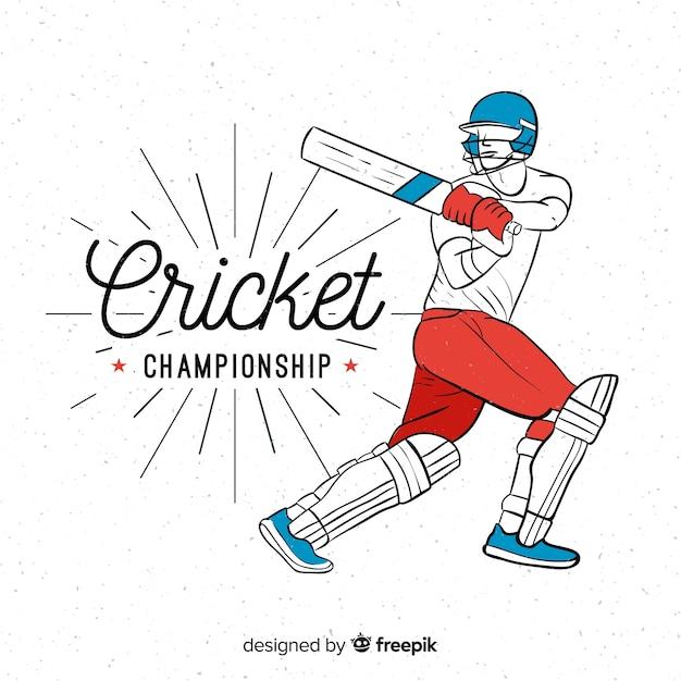 Battitore disegnato a mano che gioca cricket Vettore gratuito