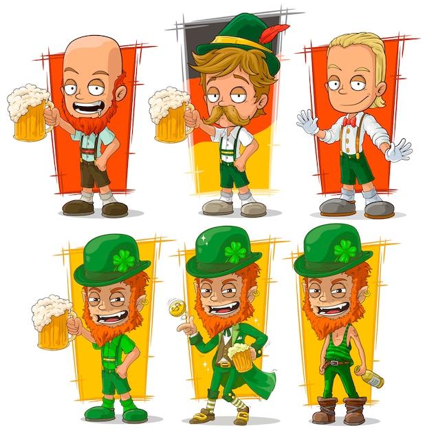 Bavarese di cartone animato con carattere di birra Vettore Premium